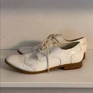White faux leather loafers. Size 8.5.